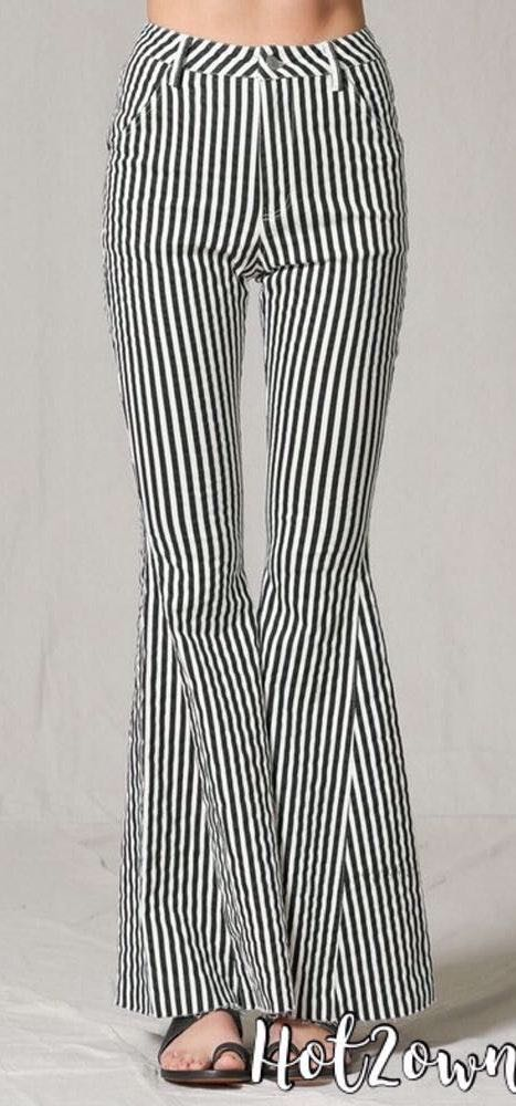By Together Blacks & White Stripe Flare Jeans