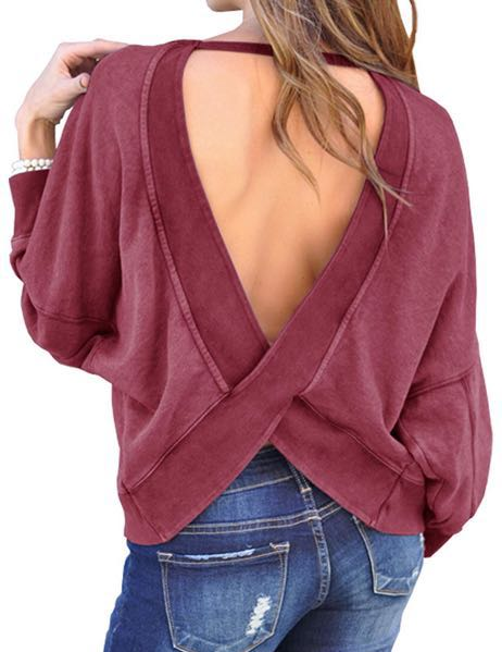 Maroon Backless Pullover