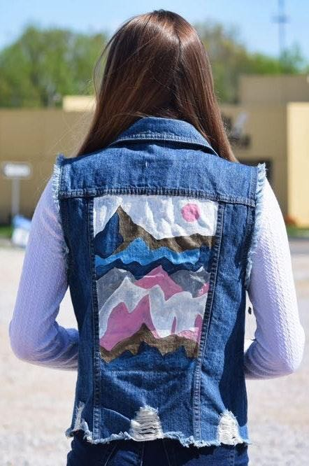 Hand Painted Abstract Denim Vest