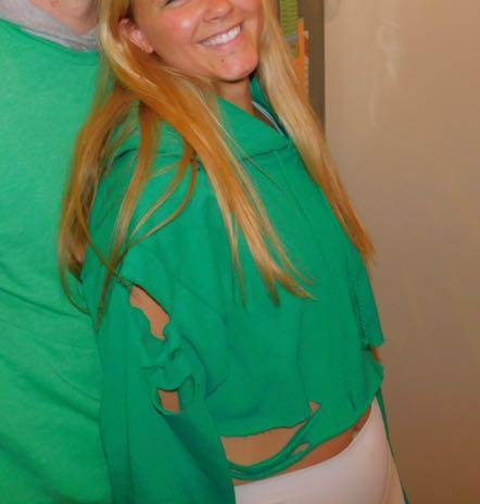 Green distressed sweatshirt