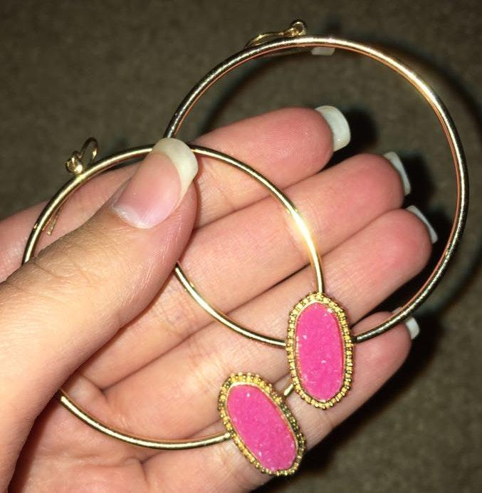 pink and gold hoop