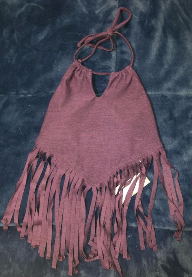 d05c3cb154176 We re the buy sell app for cute clothes. Say to being bored of your  clothes. Home Target Burgundy Boho Fringe Bikini Top