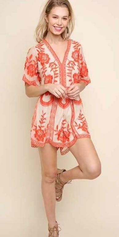 Umgee Orange Crochet Romper