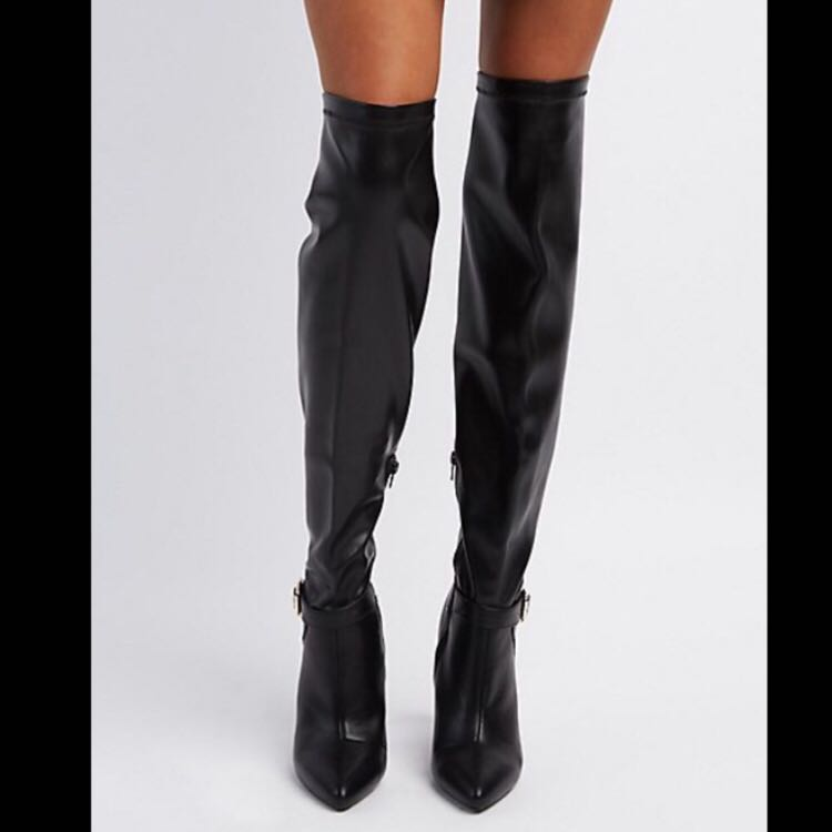 d7d68f50624 We re the buy sell app for cute clothes. Say to being bored of your  clothes. Home Qupid Sexy Black Faux Leather Over-the-knee Boots