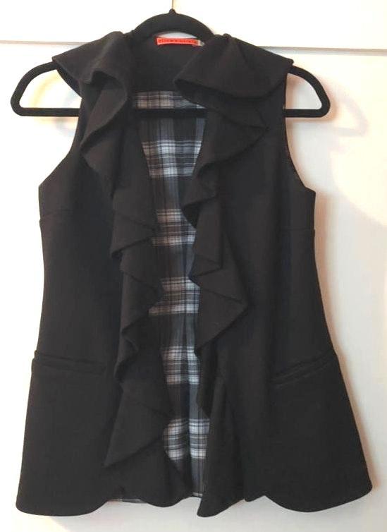 Alice + Olivia Black Ruffle Vest