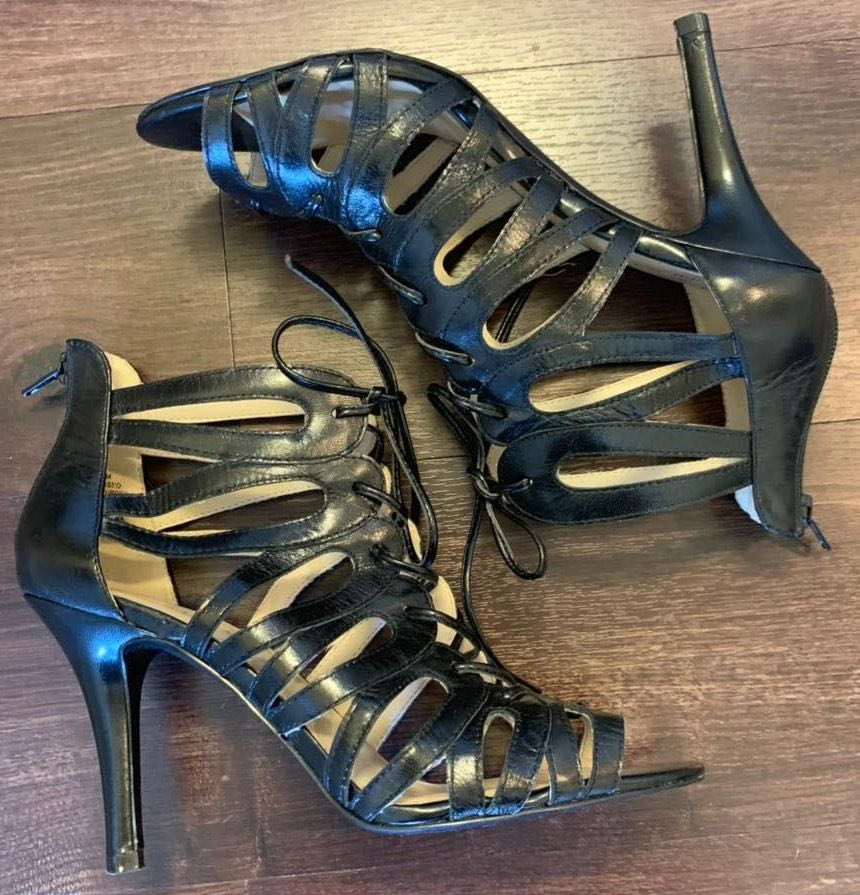 Nine West Black Strappy Heels