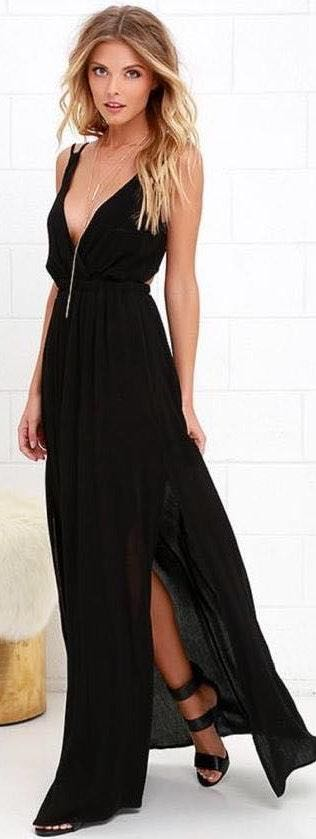 Lulus Lost In Paradise Black Maxi Dress