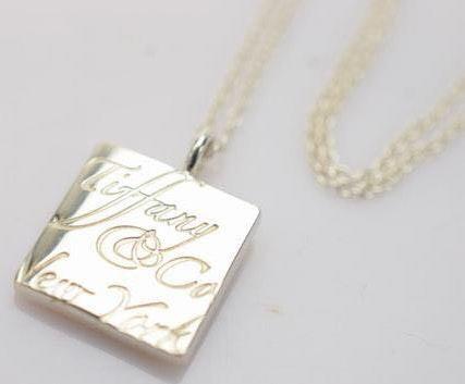 Tiffany & Co. Square Script Pendant Necklace