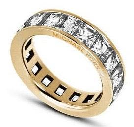 Michael Kors Crystal Baguette Gold Ring