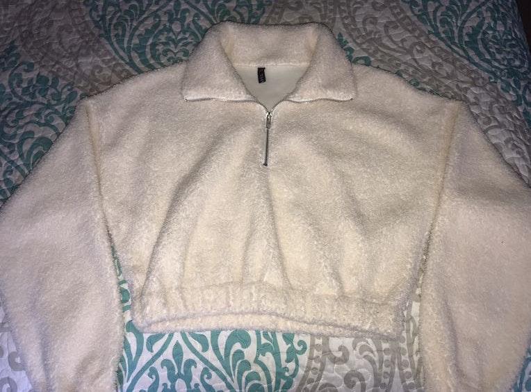 Zaful Half Zip Plain Faux Fur Sweatshirt