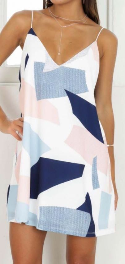 Showpo Blue and Pink Patterned Dress