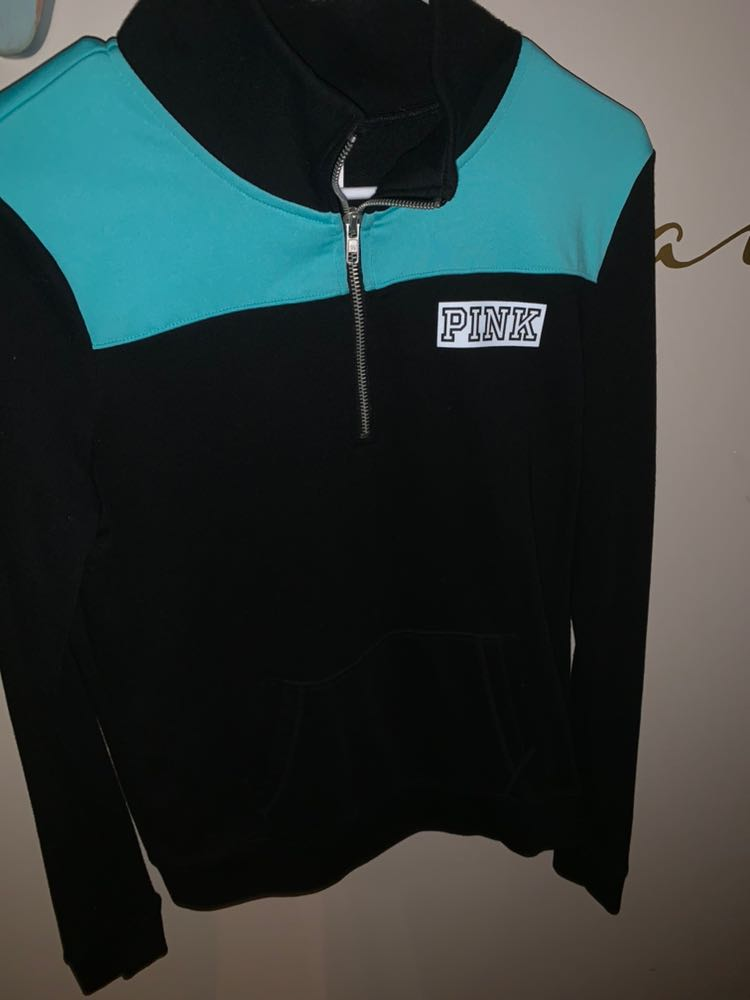 PINK Victoria's Secret Black And Teal Quarter Zip
