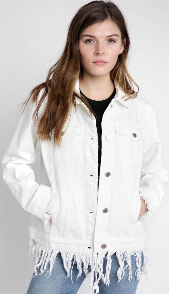 BLANK NYC white fringe denim jacket