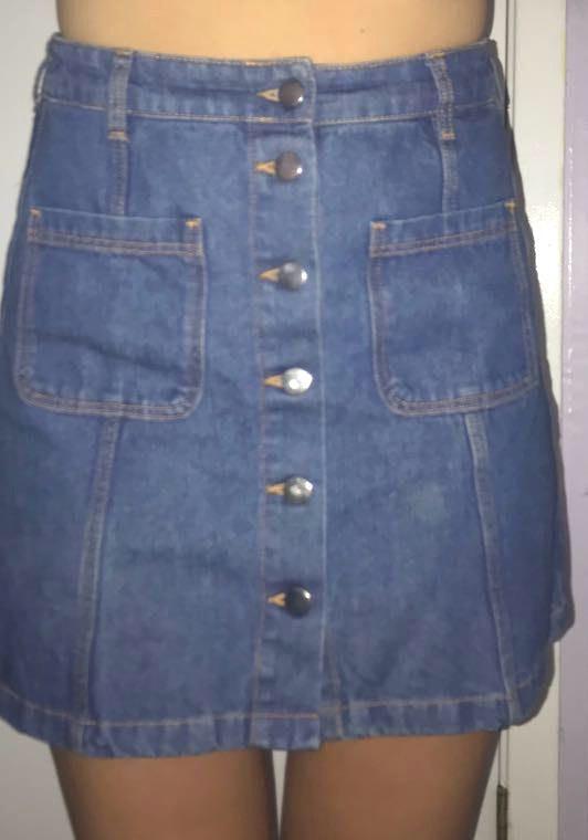 Divided Blue Jean Button Skirt