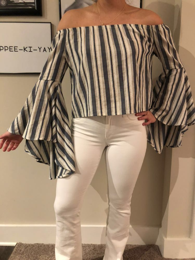 The Indigo Child Off the Shoulder Top w/ bell sleeves