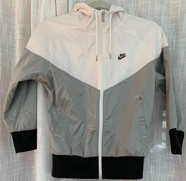 Nike White and Gray Windbreaker Jacket