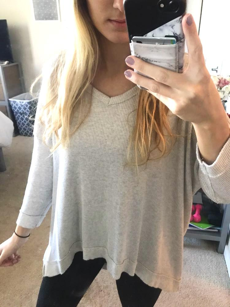 Grey V Neck Knit Top