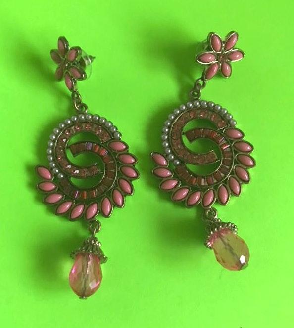 Handmade Swirl Pink Earrings
