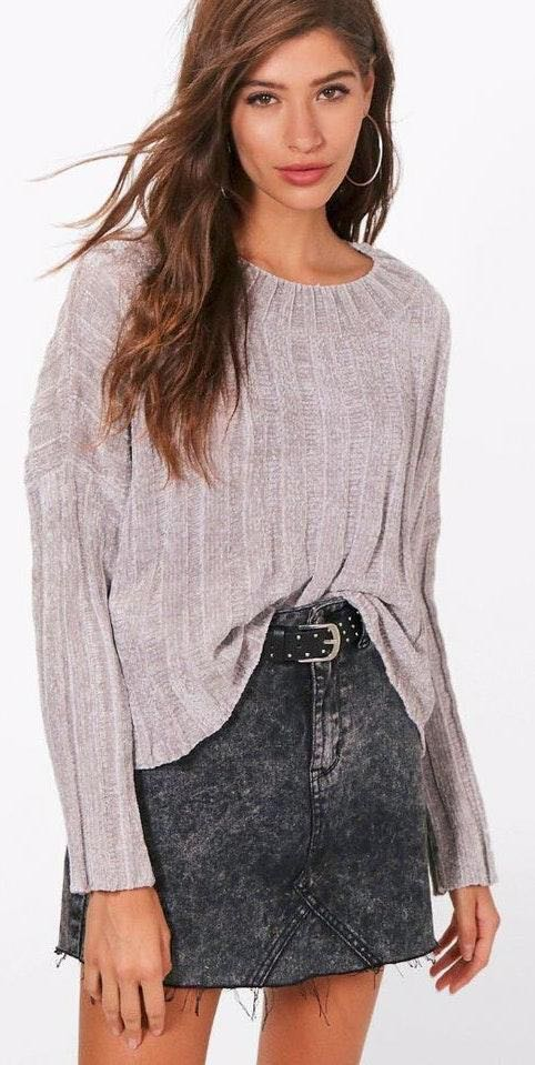 Boohoo Crop Rib Chenille Sweater