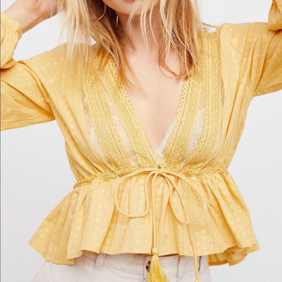 Free People Light Weight Yellow Blouse