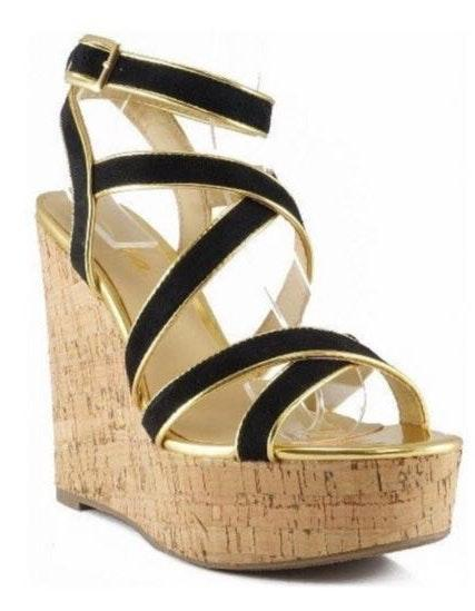 Qupid Black Suede and Gold Wedges