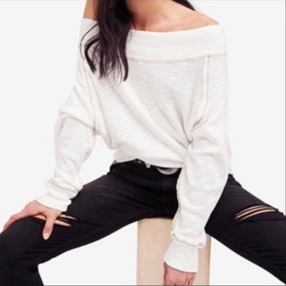 Free People White Off The Shoulder Sweater