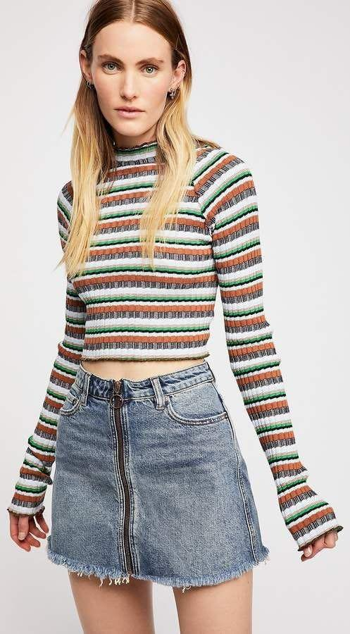 Free People we the free zip up denim skirt size 27