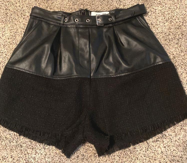 DO+BE black leather shorts