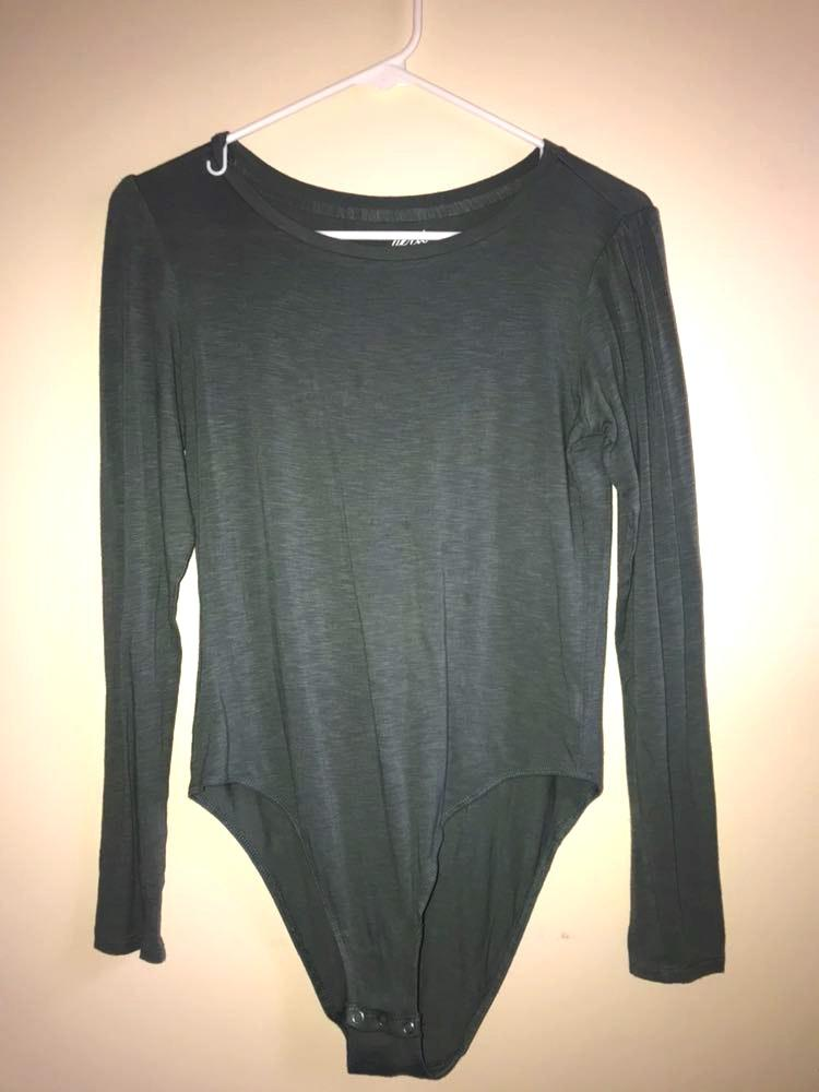 c925943493 Aerie Green/Gray Long Sleeve Bodysuit | Curtsy