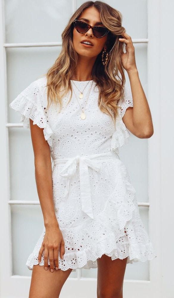 a1cb10916e5 Hello Molly white eyelet lace wrap dress