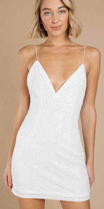 Tobi White Sequins Dress