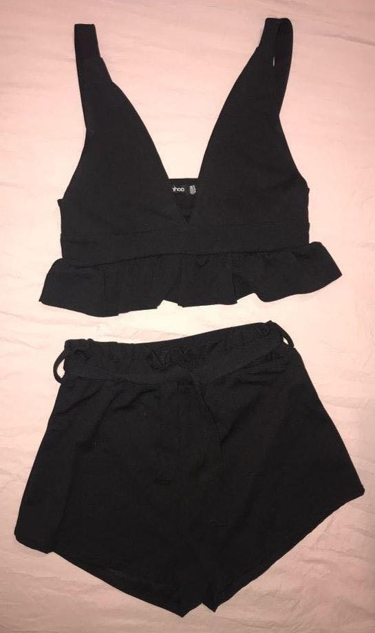 Boohoo Black Crop Shorts Set