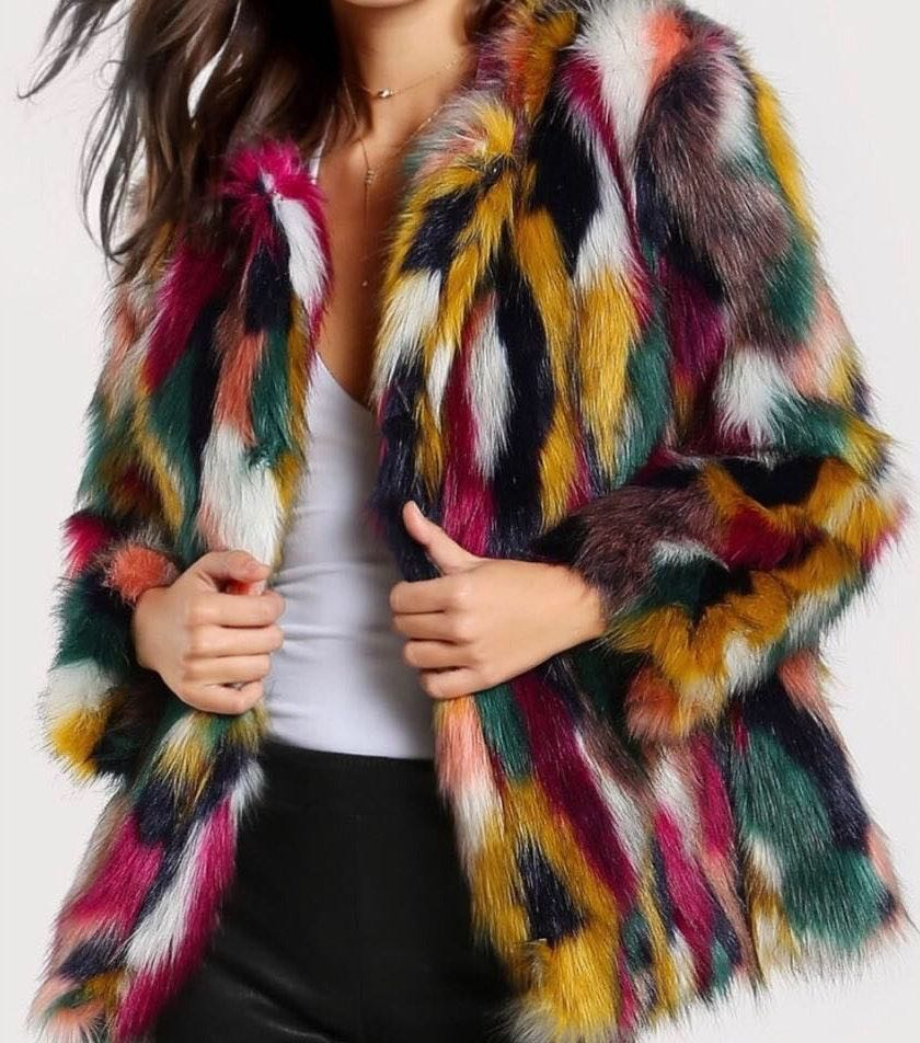 Multi Color Faux Fur Jacket
