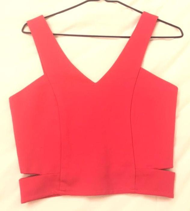 Aritzia Hot Pink Zip Back Crop Top With Side Cutouts