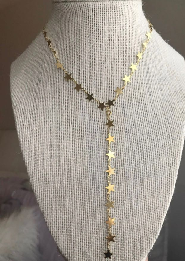 Gold Drop Star Necklace