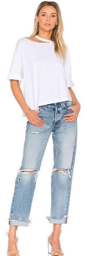 Kendall & Kylie NWT White Distressed Tee