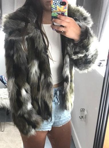 Me Jane Camo Fur Coat