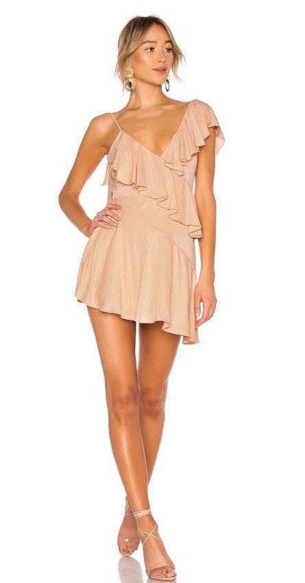 NBD Peach Ruffle Dress