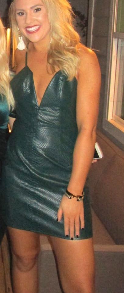NBD Green Snakeskin Dress