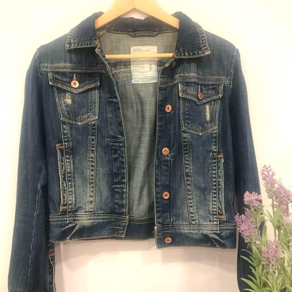 Dark Wash Denim Jacket Distressed