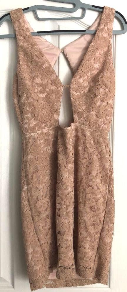 Revolve Nude Lace Bodycon Dress