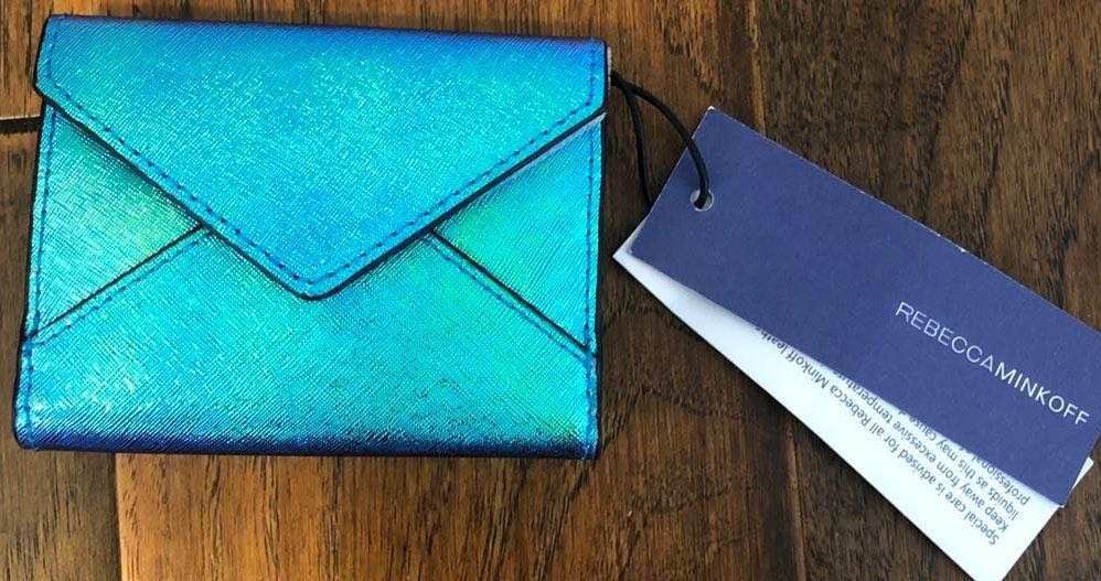 Rebecca Minkoff Blue Iridescent Card Case