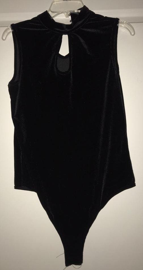 New York & Co. black velvet body suit