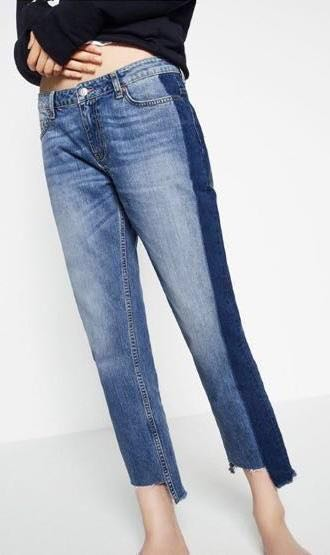 ZARA Two Tone Colorblock Stripe Jeans