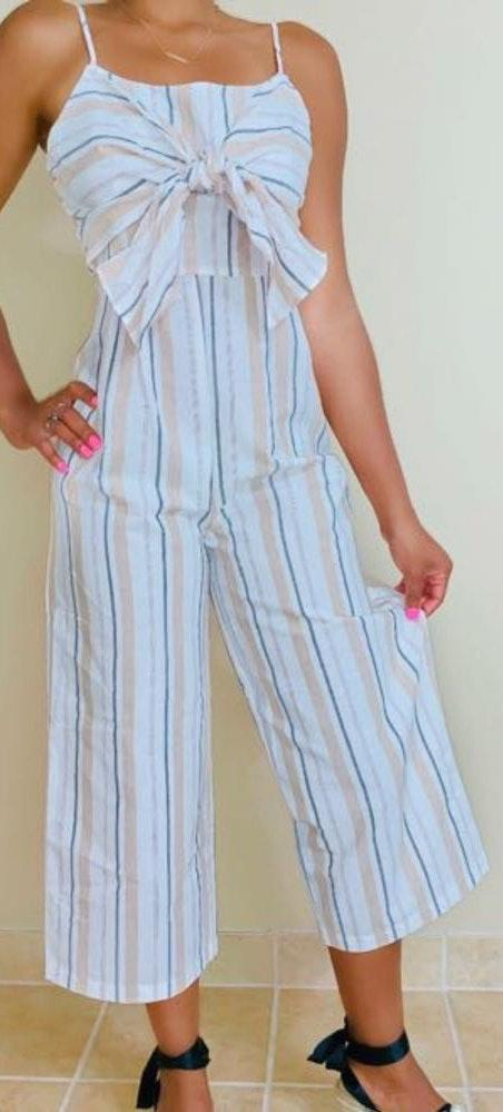 Tasha Apparel Overlay Front Tie Capri Jumpsuit