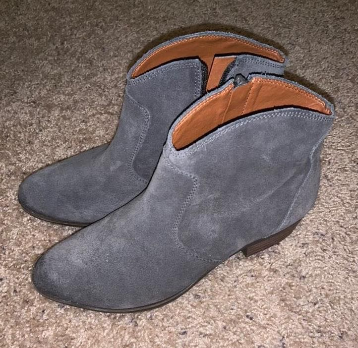 fe1f322ab30 Lucky Brand Grey Suede Booties