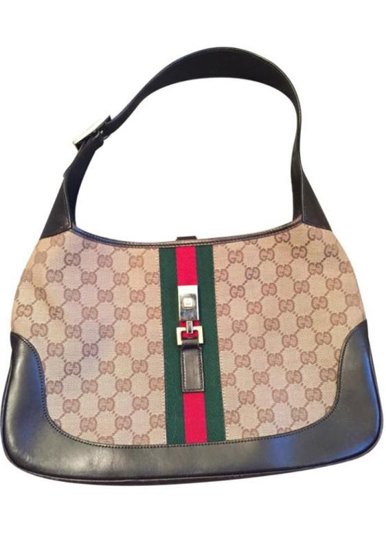 Gucci Jackie Vintage Monogram Brown Leather and Canvas Shoulder Bag