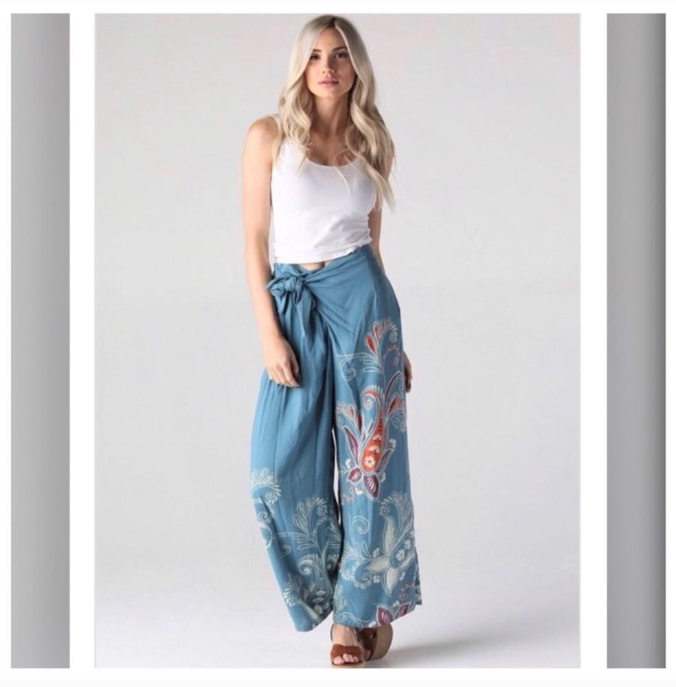 Angie Boho Style Floral Front Tie Pants