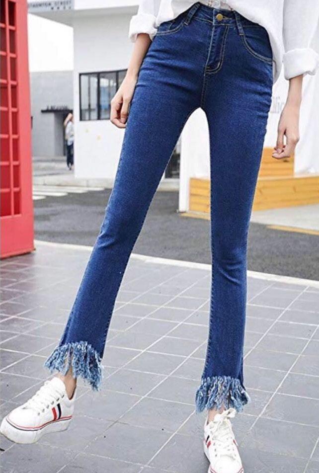 Blue Frayed Jeans