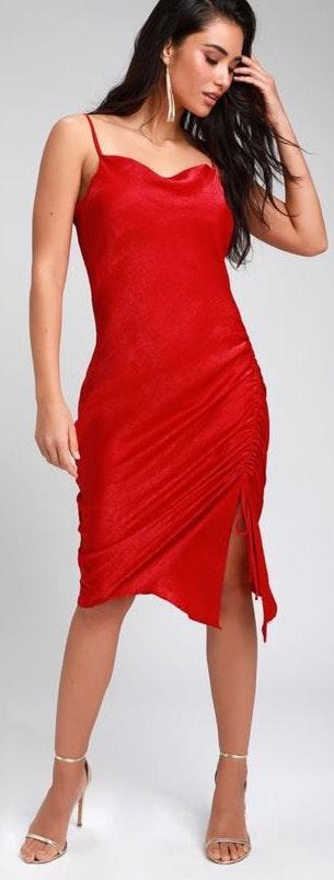Lulus Red Silk Dress